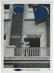 """III. Reich - Propaganda-Postkarte - """" Reichsparteitag Nürnberg 1938 - Der Führer grüßt vom Balkon seines Hotels """""""