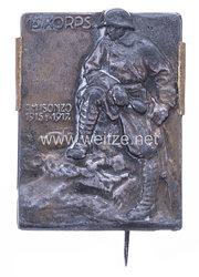 """Österreich / K.u.K. Monarchie 1. Weltkrieg Kappenabzeichen """"15. Korps am Isonzo 1515-1917."""""""