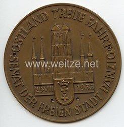 """III. Reich - Frei Stadt Danzig - nichttragbare Teilnehmerplakette - """" Ostland Treue Fahrt 29.8.1933 Senat der Freien Stadt Danzig """""""