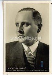 III. Reich - Portraitpostkarte von R. Walter Darré, Leiter der agrarpolitischen Abteilung der NSDAP