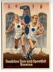 """III. Reich - farbige Propaganda-Postkarte - """" Deutsches Turn- und Sportfest Breslau 1938 """""""