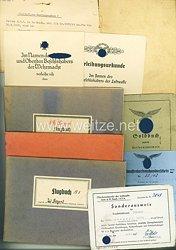 Luftwaffe - Dokumentengruppe des Deutschen Kreuz in Gold Trägers Oberfeldwebel Wilhelm Seegert der 7./Kampfgeschwader 55 und später noch tätig imSondertriebwerk 109-004