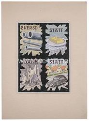 """III. Reich Widerstand : Plakatentwurf eines Antifaschisten """"Zuerst Kanonen statt Butter, dann Ruinen statt Frieden"""", datiert 1943"""
