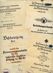Luftwaffe - Urkundengruppe für einen späteren Oberfeldwebel der 2./Kampfgruppe z.b.V.600