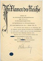 III. Reich - Originalunterschrift von Reichskriegsminister Werner von Blomberg