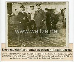 Deutsches Kaiserreich Pressefoto, Doppelweltrekord des deutschen Ballonführers Hugo Kaulen