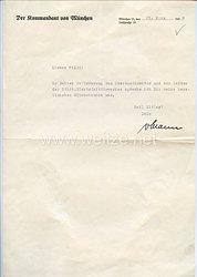 III. Reich - Originalunterschrift von OberstFerdinand Ritter von Mann Edler von Tiechler als Kommandant von München