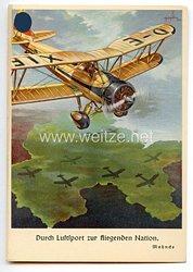 """III. Reich - farbige Propaganda-Postkarte - """" Durch Luftsport zur fliegenden Nation """""""