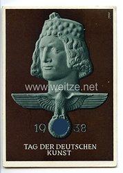 """III. Reich - farbige Propaganda-Postkarte - """" Tag der Deutschen Kunst 1938 """""""