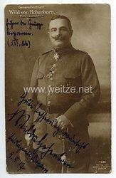 1. Weltkrieg - Originalunterschrift des Pour le Mérite mit Eichenlaub Trägers Generalleutnant Wild von Hohenborn