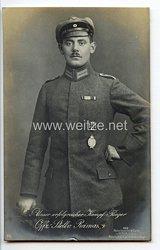"""Fliegerei 1. Weltkrieg - Fotopostkarte  - Deutsche Fliegerhelden """" Offz. Stellv. Reimann """""""
