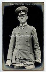 "Fliegerei 1. Weltkrieg - Fotopostkarte  - Deutsche Fliegerhelden "" Leutnant Wintgens """