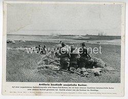 "III. Reich - gedrucktes Pressefoto "" Artillerie beschießt sowjetische Bunker "" 10.8.1942"
