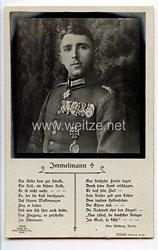 """Fliegerei 1. Weltkrieg - Fotopostkarte  - Deutsche Fliegerhelden """" Immelmann """""""