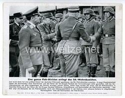 """III. Reich - gedrucktes Pressefoto """" Eine ganze Flak - Division erringt das SA. - Wehrabzeichen """" 10.12.1942"""