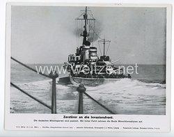 """III. Reich - gedrucktes Pressefoto """" Zerstörer an die Invasionsfront """" 25.7.1944"""