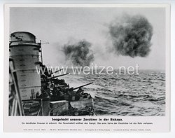 """III. Reich - gedrucktes Pressefoto """" Seegefecht unserer Zerstörer in der Biskaya """" 10.2.1944"""