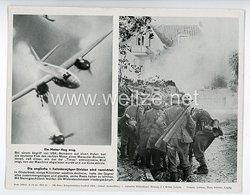 """III. Reich - gedrucktes Pressefoto """" Ein Motor flog weg. Die englische 1. Fallschirmjäger - Division wird vernichtet """" 6.10.1944"""