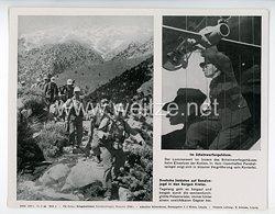 """III. Reich - gedrucktes Pressefoto """" Im Scheinwerfergehäuse. Deutsche Soldaten auf Bandenjagd in den Bergen Kretas """" 18.7.1944"""