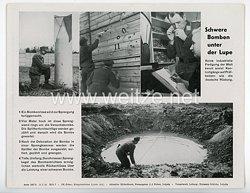 """III. Reich - gedrucktes Pressefoto """" Schwere Bomben unter der Lupe """" 18.7.1944"""