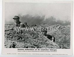 """III. Reich - gedrucktes Pressefoto """" Deutsches Artilleriefeuer auf die sowjetischen Stellungen """" 6.6.1944"""