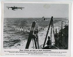 """III. Reich - gedrucktes Pressefoto """" Neue U-Boote auf Fahrt zu ihrem Einsatzhafen """" 9.5.1944"""