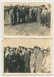 Luftwaffe Fotos, deutsche Piloten auf einem Feldflugplatz mit italienischen Soldaten