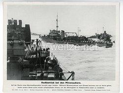 """III. Reich - gedrucktes Pressefoto """" Hochbetrieb bei den Minensuchern """" 29.8.1944"""