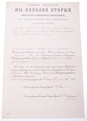 Zaristisches Russland Verleihungsdokument zum St. Anna-Orden 3. Klasse