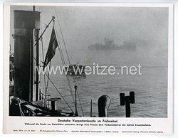 """III. Reich - gedrucktes Pressefoto """" Deutsche Vorpostenboote im Frühnebel """" 6.1.1943"""