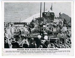 """III. Reich - gedrucktes Pressefoto """" Klassische Musik an Bord eines deutschen Kriegsschiffes """" 28.9.1943"""