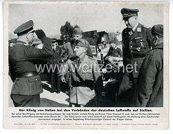 """III. Reich - gedrucktes Pressefoto """" Der König von Italien bei den Verbänden der deutschen Luftwaffe auf Sizilien """" 19.1.1943"""