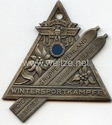 """NSKK - nichttragbare Siegerplakette - """" NSKK Motorgruppe Alpenland - Wintersportkämpfe 1939 Mannschaftslauf 2. Sieger """""""