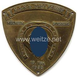"""NSKK - nichttragbare Teilnehmerplakette - """" NSKK Zielfahrt Mülheim Duisburg 19. Nov. 1933 Nationale Rennen """""""