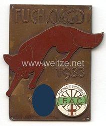 """III. Reich - Freiburger Automobil Club ( F.A.C. ) - nichttragbare Teilnehmerplakette - """" Fuchsjagd 1933 """""""