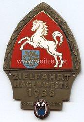 """III. Reich - Der Deutsche Automobil Club ( D.D.A.C. ) - nichttragbare Teilnehmerplakette - """" DDAC Ortsgruppe Hagen Zielfahrt Hagen/Westf. 1936 """""""