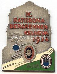 """NSKK / DDAC - nichttragbare Teilnehmerplakette - """" IX. Ratisbona Bergrennen Kelheim 26. Aug. 1934 """""""