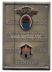 """NSKK / DDAC - nichttragbare Teilnehmerplakette - """" 1. Niederrheinische Geländeprüfungsfahrt 28. Okt. 1934 Süchteln """""""