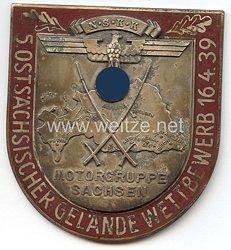 """NSKK - nichttragbare Teilnehmerplakette - """" NSKK Motorgruppe Sachsen 5. Ostsächsischer Gelände Wettbewerb 16.4.1939 """""""