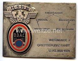 """NSKK / DDAC - nichttragbare Teilnehmerplakette - """" Westmark-Orientierungsfahrt 12./13. Mai 1934 """""""