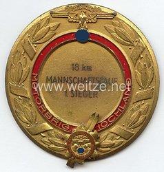 """NSKK - nichttragbare Siegerplakette - """" Motorgruppe Hochland Wintersportkämpfe 1938 - 18 km Mannschaftslauf 1. Sieger """""""
