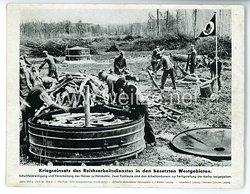 """III. Reich - gedrucktes Pressefoto """" Kriegseinsatz des Reichsarbeitsdienstes in den besetzten Westgebieten """" 25.5.1943"""