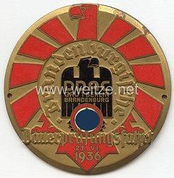 """III. Reich - Der Deutsche Automobil Club ( D.D.A.C. ) - nichttragbare Teilnehmerplakette - """" DDAC Gau 1 Berlin-Brandenburg - Brandenburgische Dauerprüfungsfahrt 21.6.1936 """""""
