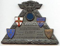 """NSKK - nichttragbare Teilnehmerplakette - """" Taunus Orientierungsfahrt 27.-28.8.1938 NSKK Motorgruppe Westmark """""""