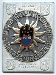 """III. Reich - Der Deutsche Automobil Club ( D.D.A.C. ) - nichttragbare Teilnehmerplakette - """" DDAC Gau Hochland Gauwertung 1934 Lindau Reichenhall Mühldorf Starnberg """""""