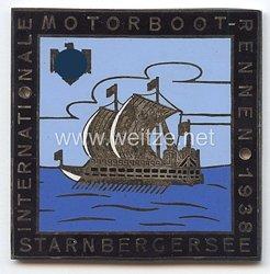"""NSRL ( Nationalsozialistischer Reichsbund für Leibesübungen ) - nichttragbare Teilnehmerplakette - """" Internationale Motorboot-Rennen 1938 Starnberger See """""""