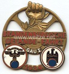 """NSKK / DDAC - nichttragbare Teilnehmerplakette - """" Brandenburgische Gelände-Fahrt 1934 - NSKK DDAC Gau I """""""