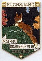 """NSKK - nichttragbare Teilnehmerplakette - """" NSKK Braunschweig Fuchsjagd Dez. 1933 """""""