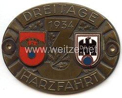 """NSKK / DDAC - nichttragbare Teilnehmerplakette - """" Dreitage Harzfahrt 1934 """""""