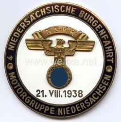 """NSKK - nichttragbare Teilnehmerplakette - """" Motorgruppe Niedersachsen 4. Niedersächsische Burgenfahrt 21.8.1938 """""""